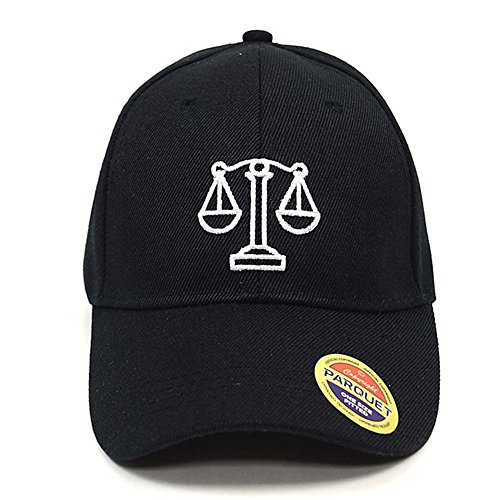 [Parquet Mens Black Legal Scales of Justice Lawyer Embroidered Adjustable Baseball Hat] (Scale Baseball)