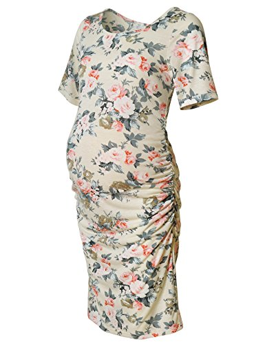 Maternity Floral Print Dress Short Sleeve Bodycon Ruched Side Midi Knee Length Dress Beige Rose L