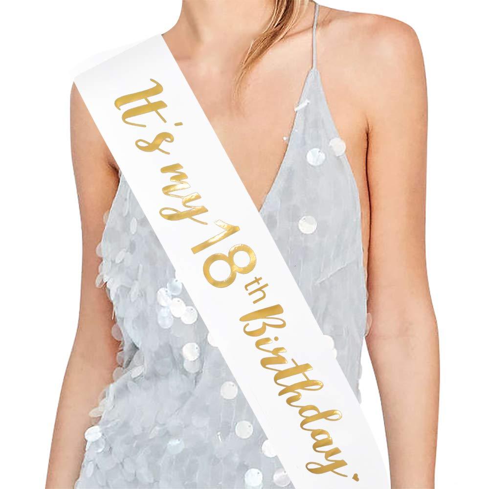 Its My 18th Birthday ADBetty 18th Birthday Sash 18th Birthday Party Supplies Sash White /& Gold Foil