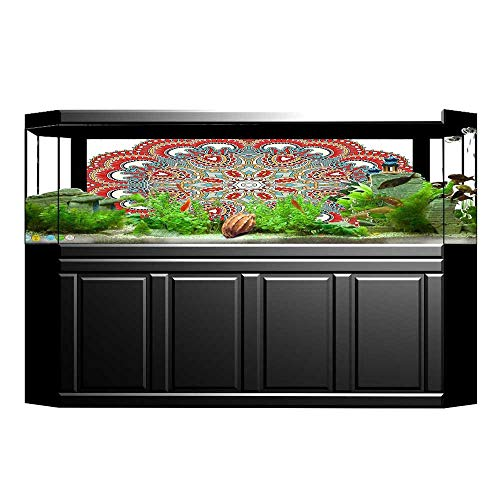 UHOO2018 3D Aquarium Background Collection Ancient Macro Mandala Figure with Nature Elements Like Embroidery or Mosaic Pri Fish Tank Wall Decorations Sticker ()