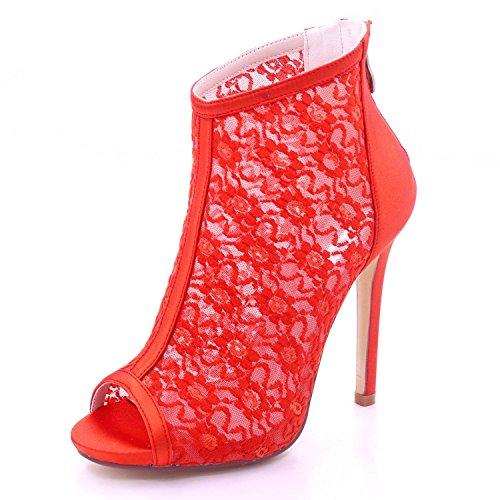 de Mujer 01E Boda Peep tacón de Satén Encaje 7216 Sandalias YC Dama Red Honor y L Toe Cremallera Alto para tqOw1qX