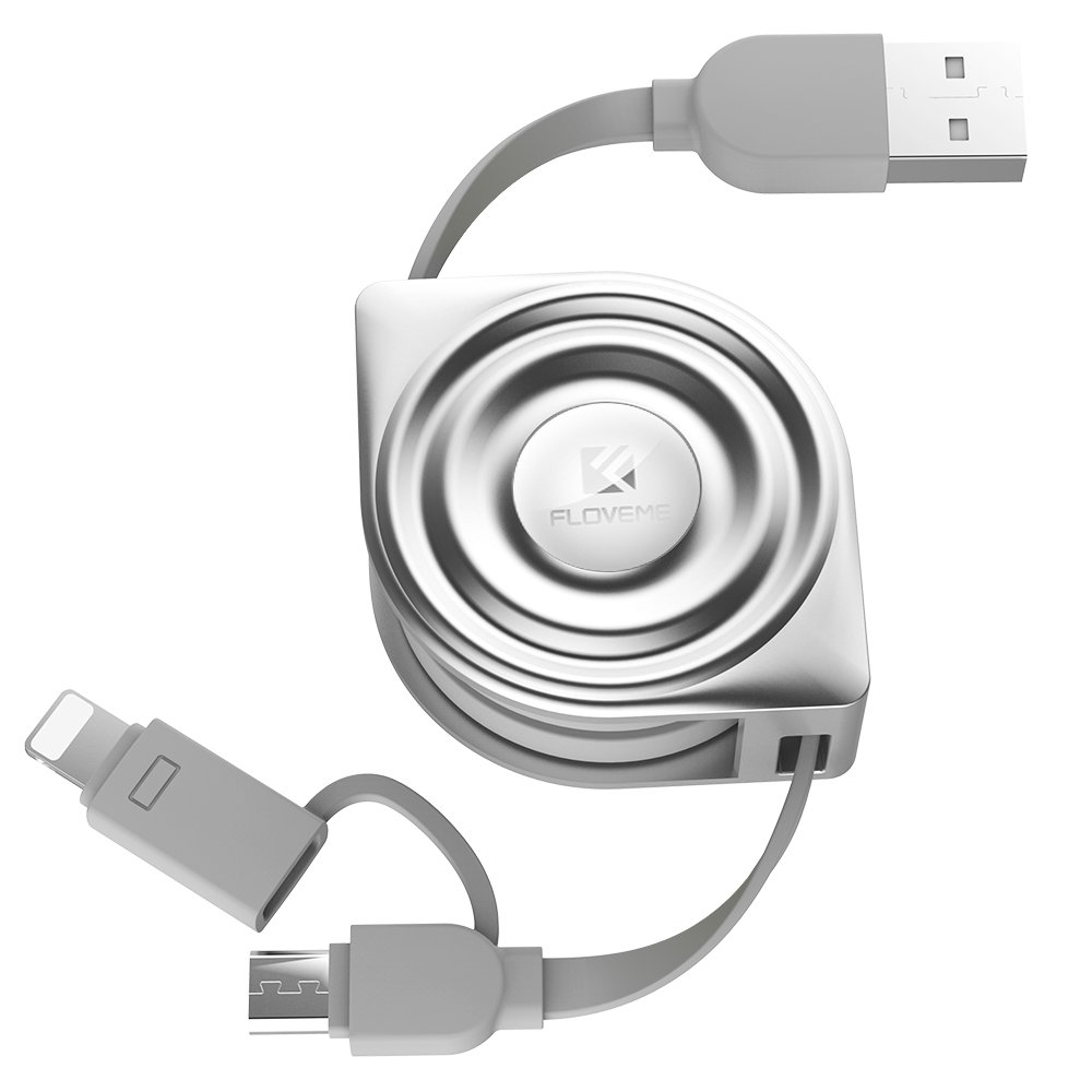 Retractable Lightning Cable, FLOVEME 2 in 1 Extension 3.3ft Flexible Charging Data Sync Micro USB Charger Cord for iPad iPhone X 8 7 6 6s 5 5s SE Samsung S6 S7 EDGE S8 PLUS Note 5 LG HTC, Silver