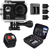 "REMALI 4K Ultra HD Sports Action Camera, 1080P@60fps, 12MP, WIFI, Waterproof 30m, 2.4G Remote, 170° Wide Angle, 2"" HD LCD Screen, 6 Layer Lens, Extra Battery, Charger, Carrying Case, Accessories"