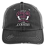 Half Cowgirl Knit Cap, Half Princess Hat (Trucker Cap - Black)