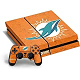 NFL Miami Dolphins PS4 Horizontal Bundle Skin - Miami Dolphins Distressed- Orange Vinyl Decal Skin For Your PS4 Horizontal Bundle