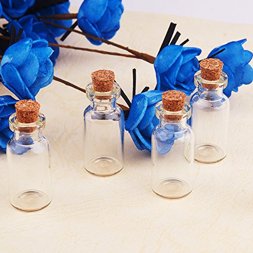 PandaHall Elite 14 Pcs Mini Tiny Clear Glass Jars Bottles with Cork Stoppers and Eye Pins for Crafts Projects Size 35x16mm in Box Set