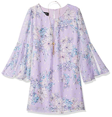 Lilac Floral Dress - Amy Byer Girls' Big Bell Sleeve A-Line Chiffon Dress, Lilac/Aqua foil Dash Floral 14