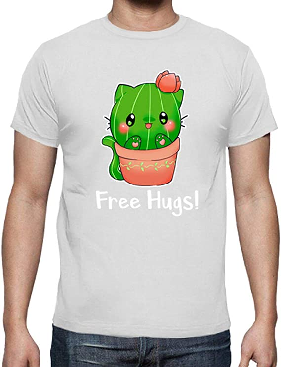 latostadora - Camiseta Gato Cactus Fre Hugs para Hombre ...