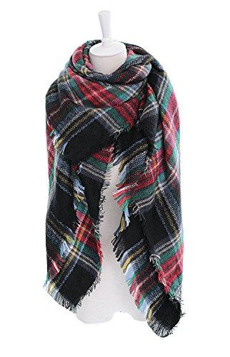 DEARCASE Womens Tassels Tartan Blanket product image