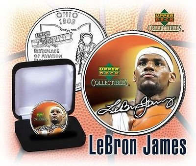 - LEBRON JAMES UPPER DECK U.S. STATEHOOD ROOKIE SIGNATURED COIN! W/H COA & BOX!