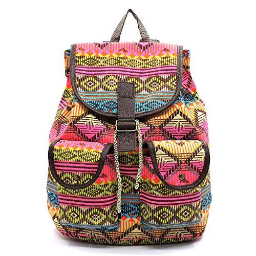 Boho Aztec Printed Drawstring Top Closure with Flap Backpack
