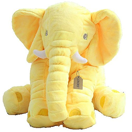 (LOVOUS Super Soft Cute Big Stuffed Elephant Plush Doll, Baby Elephants Toys (Yellow))