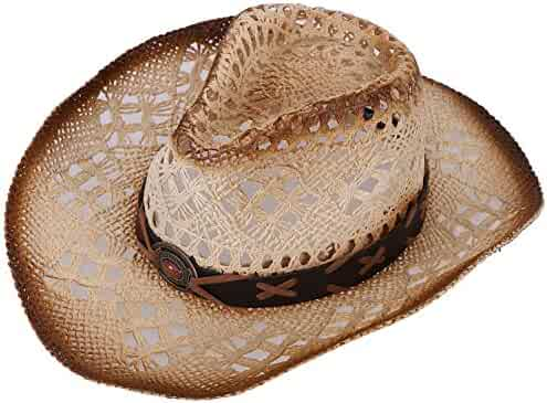 Verabella Men Women s Classic Western Cowboy Straw Hat w Leather Band a3ba62920bc2