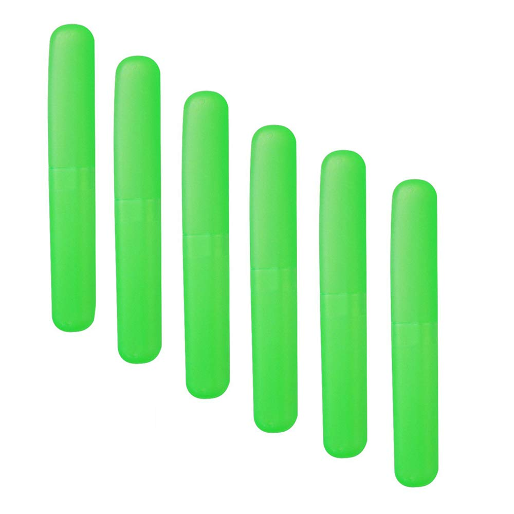 dlkesh00estest Plastic Toothbrush Case 6pcs Toothbrushes Holder for Daily and Travel Use Green