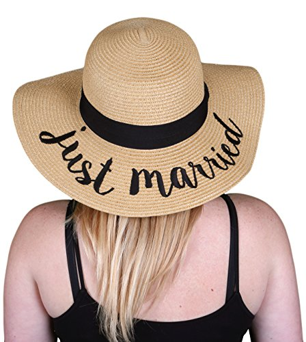 H-2017-JM Embroidered Bridal Sun Hat - Just Married