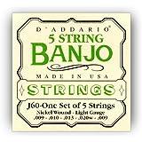 D'Addario J60 5-String Banjo Strings, Nickel, Light, 9-20