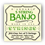 D\'Addario J60 5-String Banjo Strings, Nickel, Light, 9-20