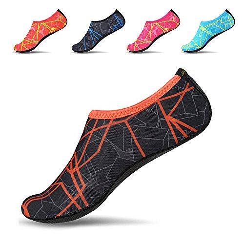 JACKSHIBO Men Women Quick-Dry Water Skin Shoes Aqua Socks Water Sports Swim Surf Yoga Exercice Beach Grey Orange 11-12.5 M US Women/10-10.5 M US Men