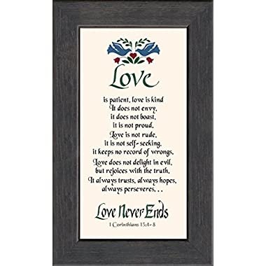 Love is Patient Scripture Framed Art Gift of Motivational Verses for Wedding, Anniversary, Valentine's Day, and Housewarming 1 Corinthians 13: 4-8