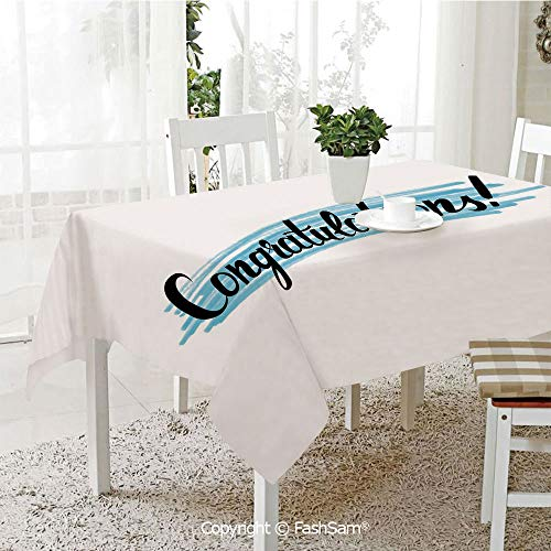 Premium Waterproof Table Cover Hand Written Typography Congrats Greeting Artsy Old Fashioned Wording Kitchen Rectangular Table Cover (W60 xL104)]()