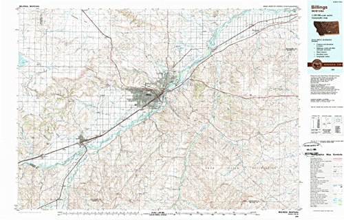 Billings MT topo map, 1:100000 scale, 30 X 60 Minute, Historical, 1989, updated 1989, 24.1 x 37.7 IN - - Billings Montana Rimrock