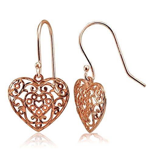 (Rose Gold Flashed Sterling Silver High Polished Diamond-cut Filigree Heart Dangle Earrings)
