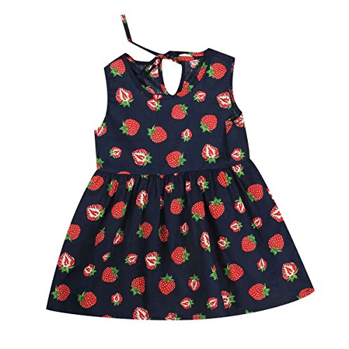 puseky Kids Baby Girl One Piece Sleeveless Summer Sundress Casual Party Dress (2-3T, Navy Blue & Strawberry)