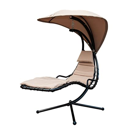 Strange Sunlife Porch Swing Patio Hanging Chaise Sling Hammock Lounger Chair With Arc Stand Canopy Cushion Beige Home Remodeling Inspirations Propsscottssportslandcom