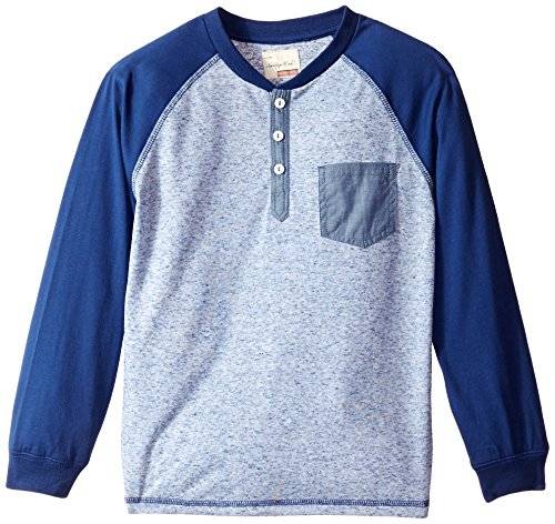 Sovereign Code Little Boys' Raglan Sleeved Henley Neck Knit Top with Chambray Details, Navy/Blue, 5