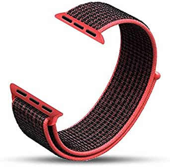 Nylon Watch Bracelet From Liger Compatible With Apple Watch 38 MM 40 MM Version 1/2 / 3/4 Red and Black Color