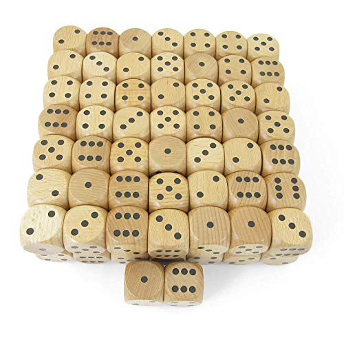 Wood Dice with Black Pips D6 30mm (1.18in) Pack of 100 Kaplow Games