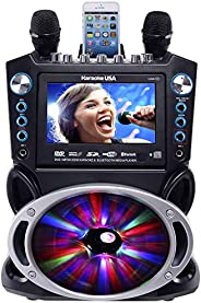"""Karaoke GF842 DVD/CDG/MP3G Karaoke System with 7"""" TFT Color Screen, Record, Bluetooth and LED Sync L"""