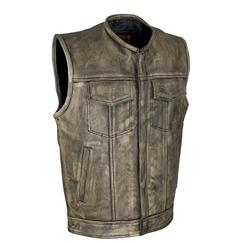 Men's Distressed Brown Leather Motorcycle Vest (Size LG, 46)