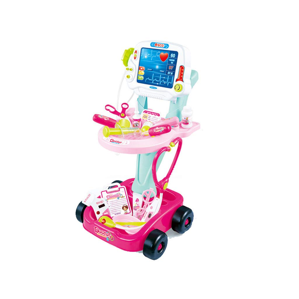 Lcyus Children's Simulation Toy, Doctor Pretend Play Set with Electric Simulation ECG Medical and Stethoscope Kit (Pink) by Lcyus