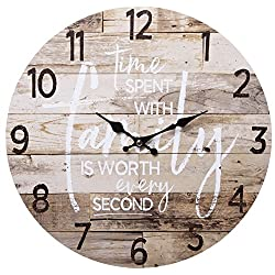 TIME Spent with Family Worth Every Second Round Wood Style Wall Clock - Farmhouse Rustic Home Decor - 13 Inches Diameter