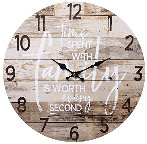 - TIME Spent with Family Worth Every Second Round Wood Style Wall Clock - Farmhouse Rustic Home Decor - 13 Inches Diameter