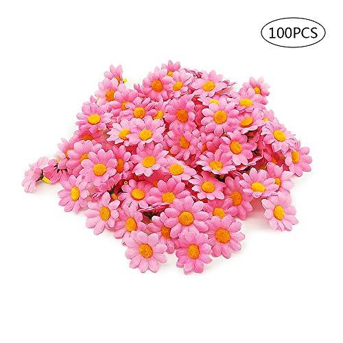 (GFEU 100pcs Artificial Gerbera Daisy Flower Heads Fake Silk Petal Decor for DIY Garland Craft Birthday Party (Pink) )