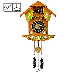 Kintrot Quartz Cuckoo Clock Black Forest Antique Pendulum Wall Clock Home Decor