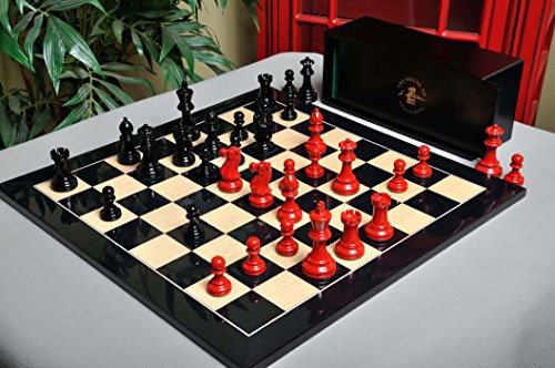 - The House of Staunton The Grandmaster Regal Series Chess Set, Box, & Board Combination - Black and Red Lacquered