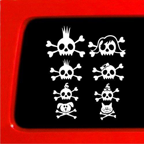 - Skull Stick Figure Family Sticker - Vinyl Decal funny car truck laptop