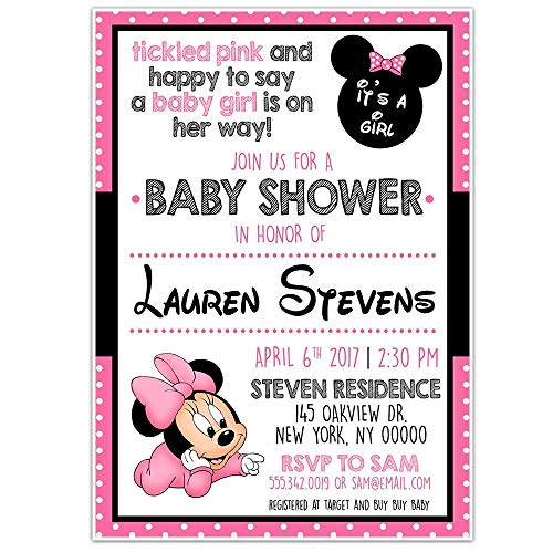 - Minnie Mouse PINK Baby Shower Party Invitations