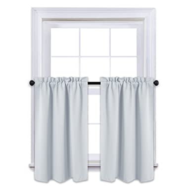 NICETOWN Window Treatment Room Darkening Curtains - Rod Pocket Tailored Tier/Valance / Cafe Curtains for Basement (2 Panels, 29 by 36 Inches,Platinum-Greyish White)