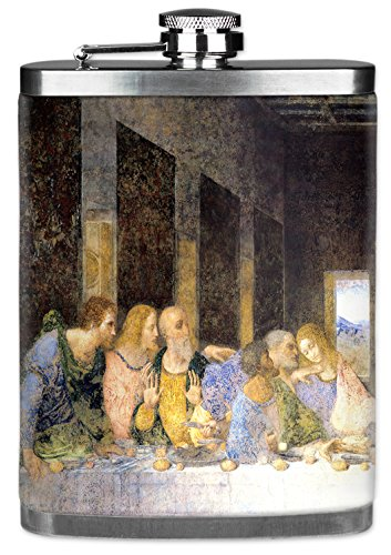 Vinci Bridesmaids Da - Mugzie brand 7 Oz Hip Flask with Insulated Wetsuit Cover - Da Vinci: Last Supper