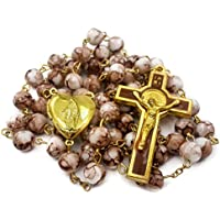 Saint Benedict Rosary Brown Glass Beads St San Benito Cross NR Medal Catholic Necklace