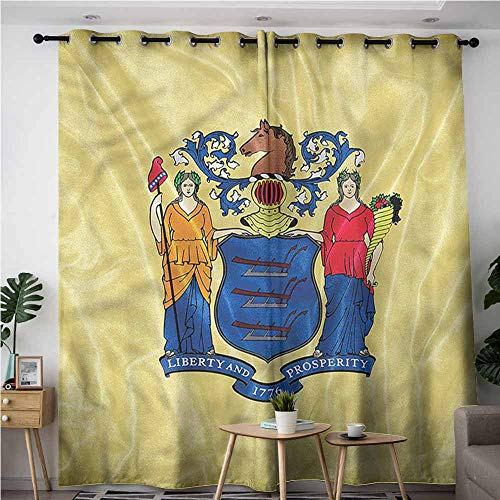 BE.SUN Simple Curtains,American,New Jersey Flag Prosperity,Darkening Thermal Insulated Blackout,W108x108L ()