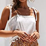Jiayit Women Sleeveless T-Shirt Solid Cold Shoulder Backless Tassel Casual Fringe Lace Halter Camisole Vest Top Fashion Tee
