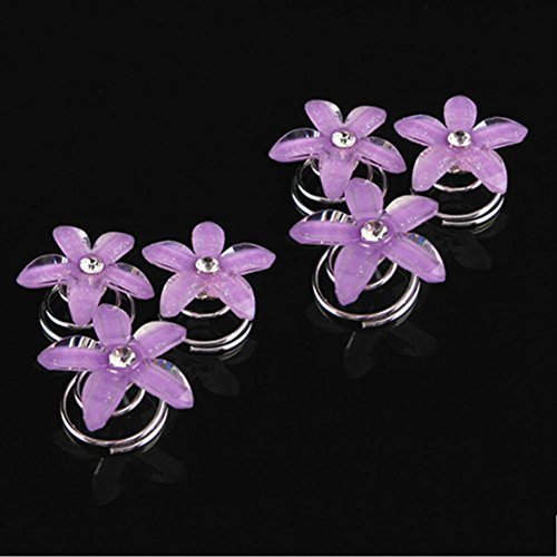 Aysekone 6 Pcs/Pack Five Purple Petals Flower Bridal Hair Pin Twister Coil Spiral with Rhinestone Crystal for Wedding, Prom, Party and Special Event ()