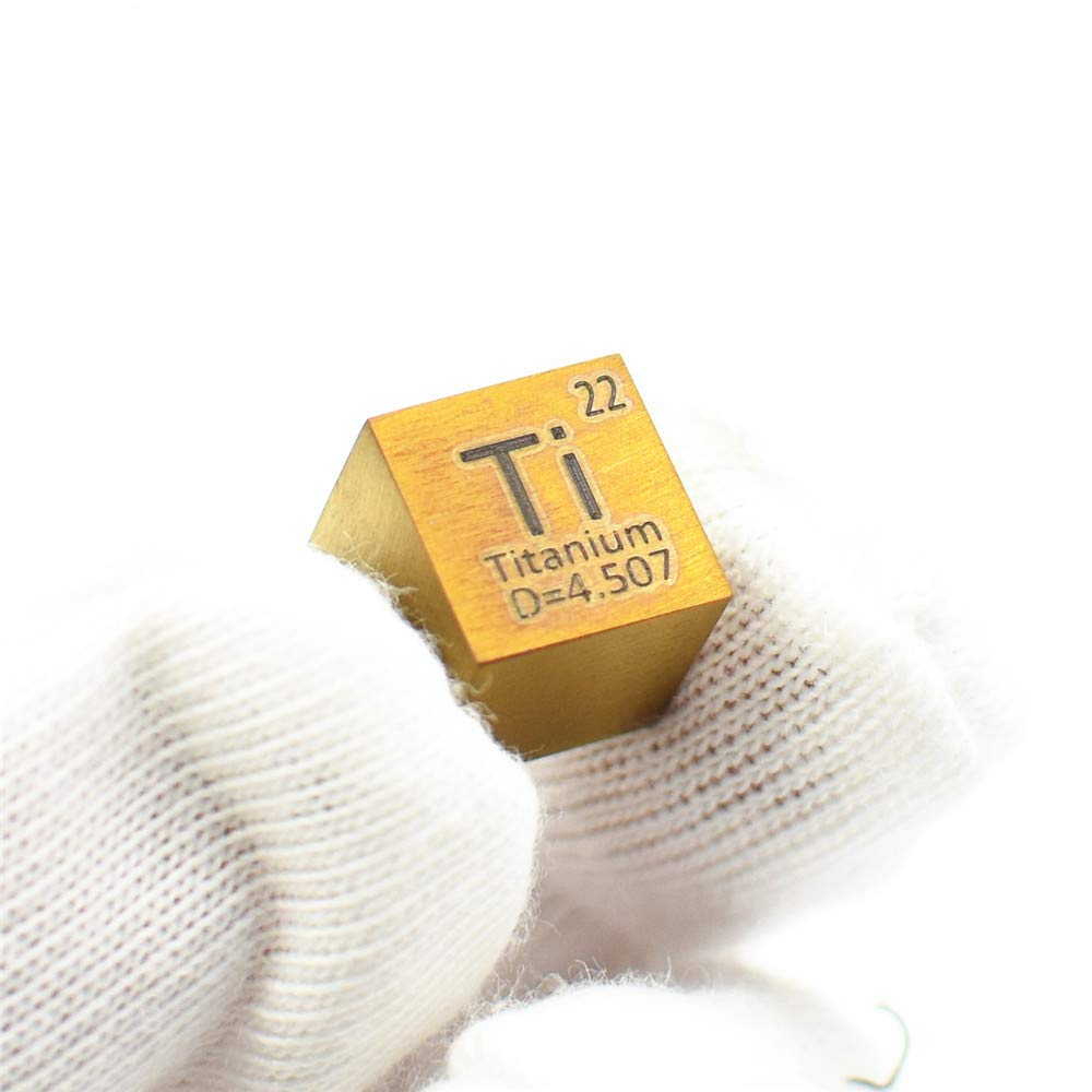Pure Titanium 10mm Density Cube Anodizing Brown Coffee Color 99.5% for Ti Metal Collection Element Display by HMME