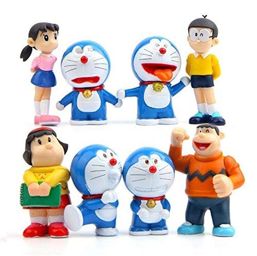 8pcs New style Cartoon Doraemon Nobita Nobi Shizuka Minamoto DIY Action Figure