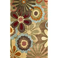 KAS Rugs 8918 Ruby Retro Flora Runner, 2-Feet 3-Inch by 9-Feet 6-Inch, Sage